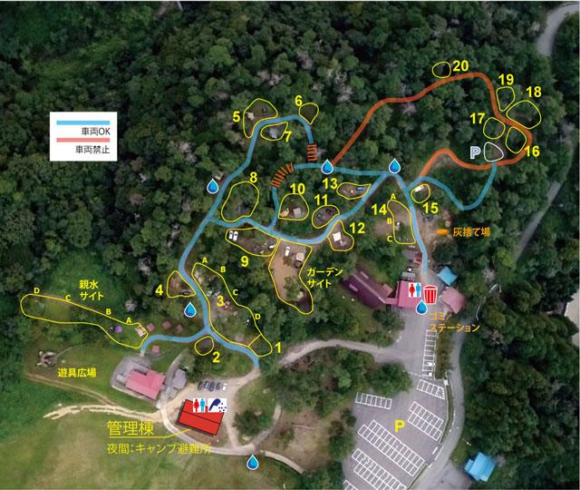 南砺市井波にある「閑乗寺公園キャンプ場」の第1キャンプ場マップ