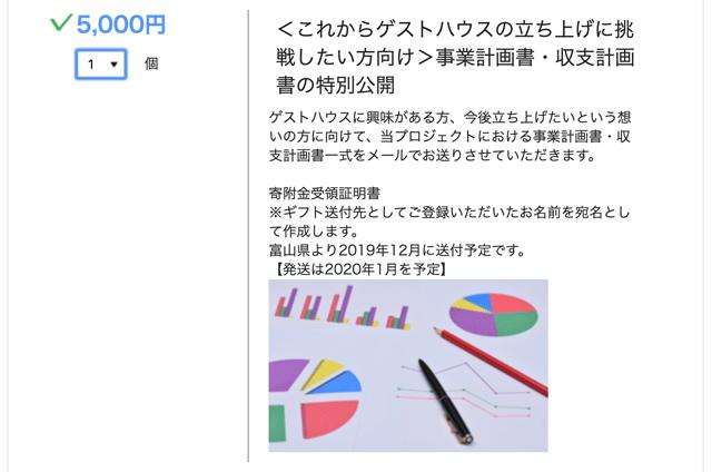 シェアライフ富山のクラウドファンディング 「古民家活用」のリターン「事業計画書・収支計画書」