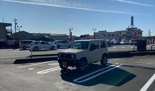 新庄の二郎系ラーメン「豚道場ぶた壱」の軽自動車専用の駐車場