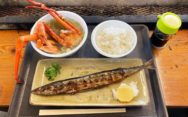 魚津の朝一の朝一定食(カニ汁・ご飯・秋刀魚/ほっけ)