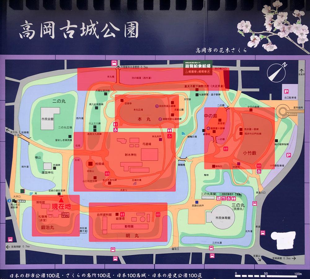 高岡古城公園の桜の咲いている場所マップ