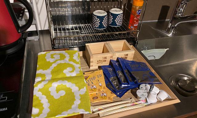 富山県富山市岩瀬の売薬宿屋「山キ」備え付けのインスタントコーヒーや紅茶