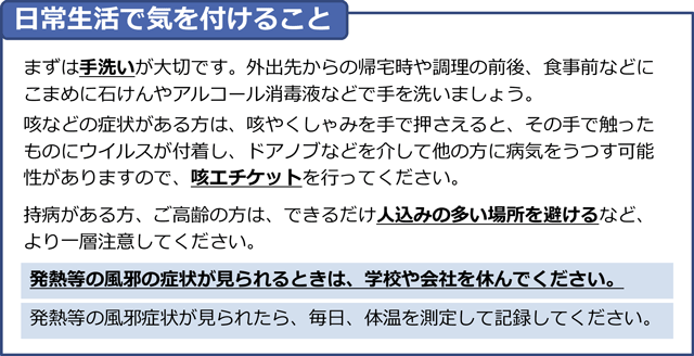 新型コロナウイルス感染症の予防で気をつけること(厚生労働省)