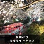 【松川べりの夜桜ライトアップ】日中とは違う花見!夜桜ナイトクルーズも。