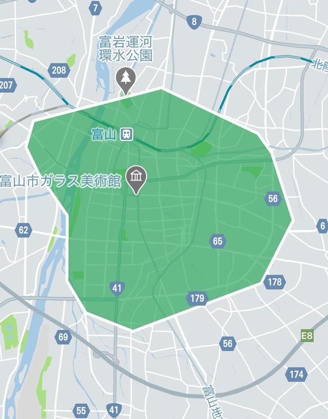 Uber Eats(ウーバーイーツ)の富山市の配送エリア