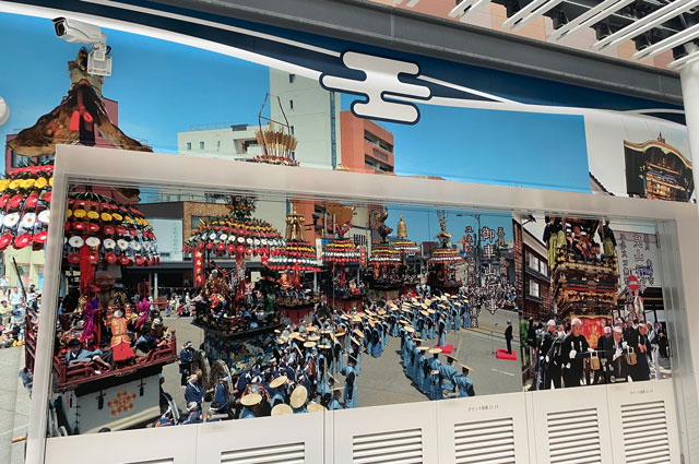JR富山駅「きときと市場とやマルシェ」の裏側の祭りの紹介1
