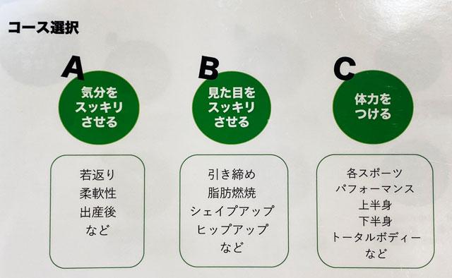 富山市二口町の接骨院プロデュースのセミパーソナルジム「ゆめたかトレーニングジム」のパーソナルメニューの選択