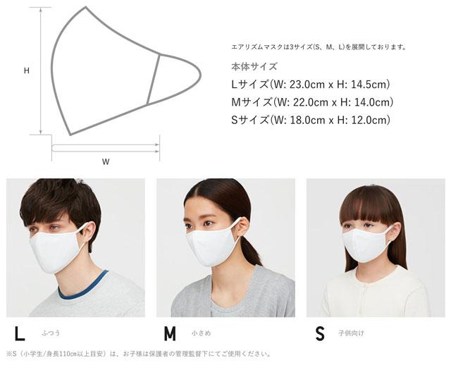 UNIQLOのエアリズムマスクのサイズ