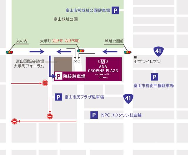 富山市中心市街地のANAクラウンプラザホテル富山の隣接駐車場