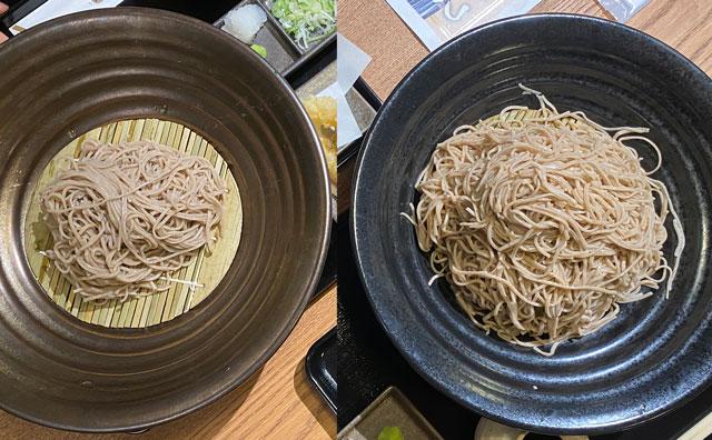 富山市黒瀬の蕎麦屋「OLIMBA オリンバ」の普通盛りと劔盛りの比較