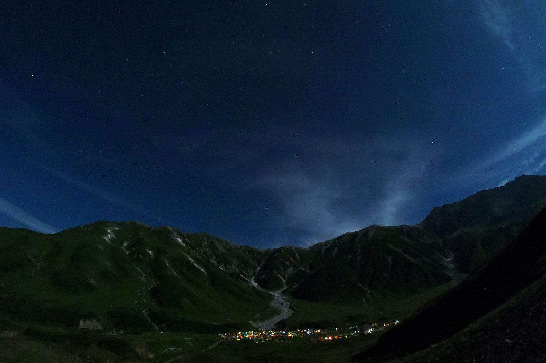 雷鳥沢キャンプ場から見られる星空