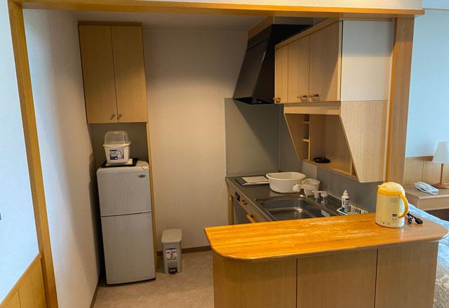 富山市のペットと泊まれる宿「ふれあいの里ささみね」の簡易キッチン