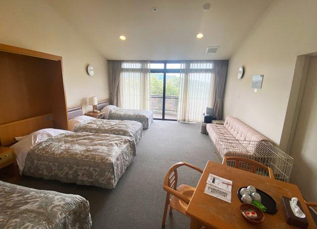 富山市のペットと泊まれる宿「ふれあいの里ささみね」の大きい洋室