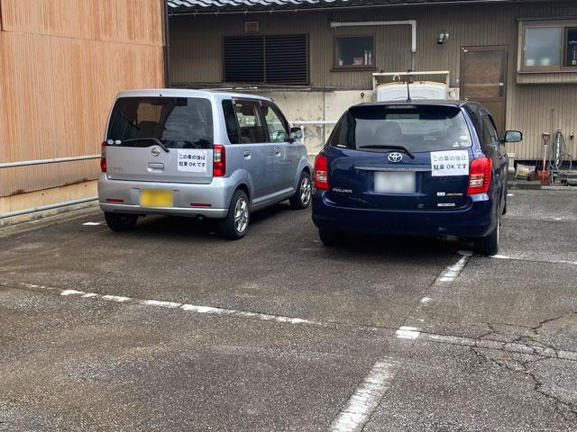 富山市旧大沢野の無添加無化調のラーメン屋「煮干しそば 銀」の駐車場のステッカー
