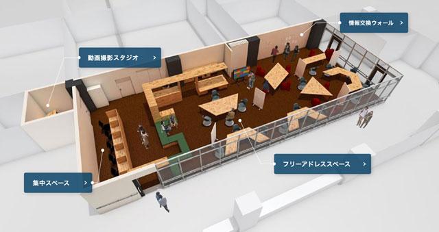 富山駅徒歩3分CiC3階のコワーキングスペース「スケッチラボ」の施設内マップ