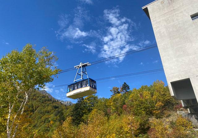 立山黒部アルペンルート黒部平の「高山植物観察園」から見る立山ロープウェイ
