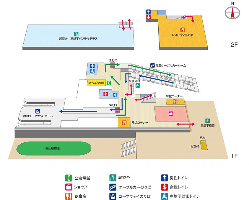 立山黒部アルペンルート黒部平駅の構内案内図