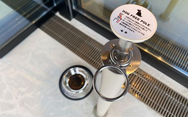 富山市環水公園のそば「環水テラス」のティースタンド「点点茶」のテラス席のドッグフリーポール