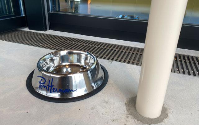 富山市環水公園のそば「環水テラス」のティースタンド「点点茶」のテラス席の犬用の水桶