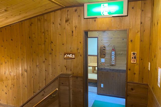 富山県黒部市宇奈月町の秘湯黒薙温泉の内湯と無料休憩室の分かれ道