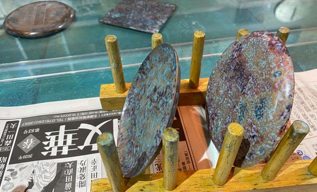 モメンタムファクトリー・Oriiの着色体験の緑青(ろくしょう)の乾かし