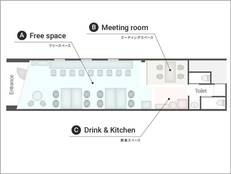 富山市中央通りのコワーキングスペース&シェアオフィス「ハッチ HTACH」のフロアマップ