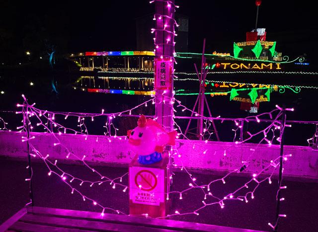 砺波市のイルミネーション「チューリップ公園KIRAKIRAミッション」の恋っぴのイルミネーション(アップ)