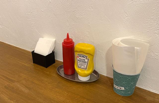 富山市五福のハンバーガーやソフトクリーム、クレープの店「まるくーぷ」のケチャップ・マスタード・包めるナプキン