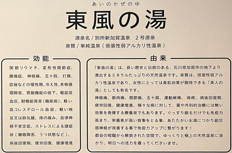 富山県富山市小杉、JR小杉駅徒歩1分のビジネスホテル「スーパーホテル」の温泉、東風の湯(あいのかぜのゆ)の泉質