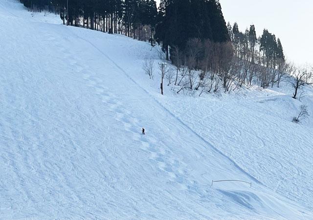 富山県南砺市五箇山の「たいらスキー場」のモーグルコース