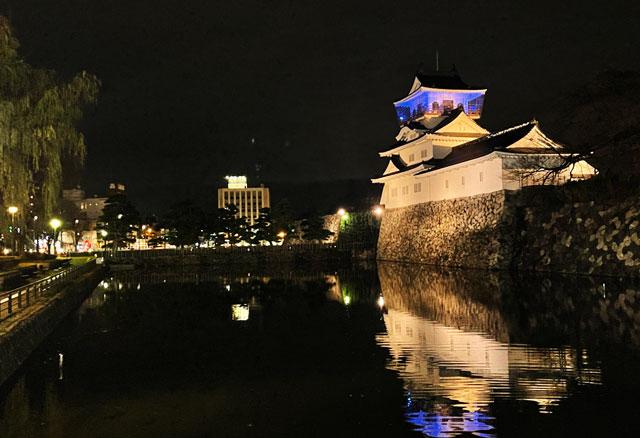 ライトアップされた富山城の夜景