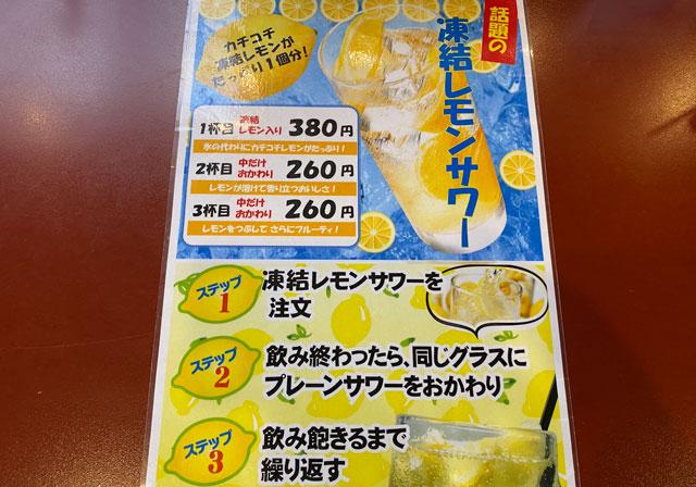 富山県の回転寿司「番やのすし」のレモンサワー