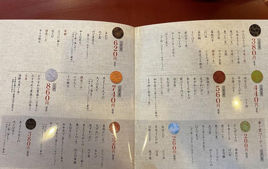 富山県の回転寿司「番やのすし」の握りメニュー2