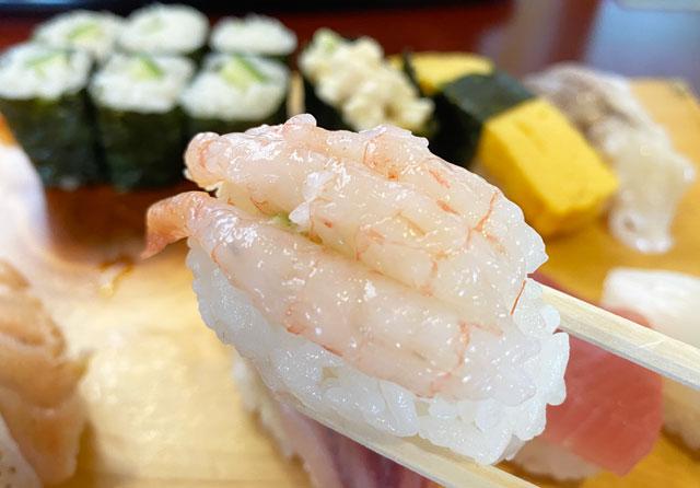 富山県の回転寿司「番やのすし」古沢店のエビ寿司