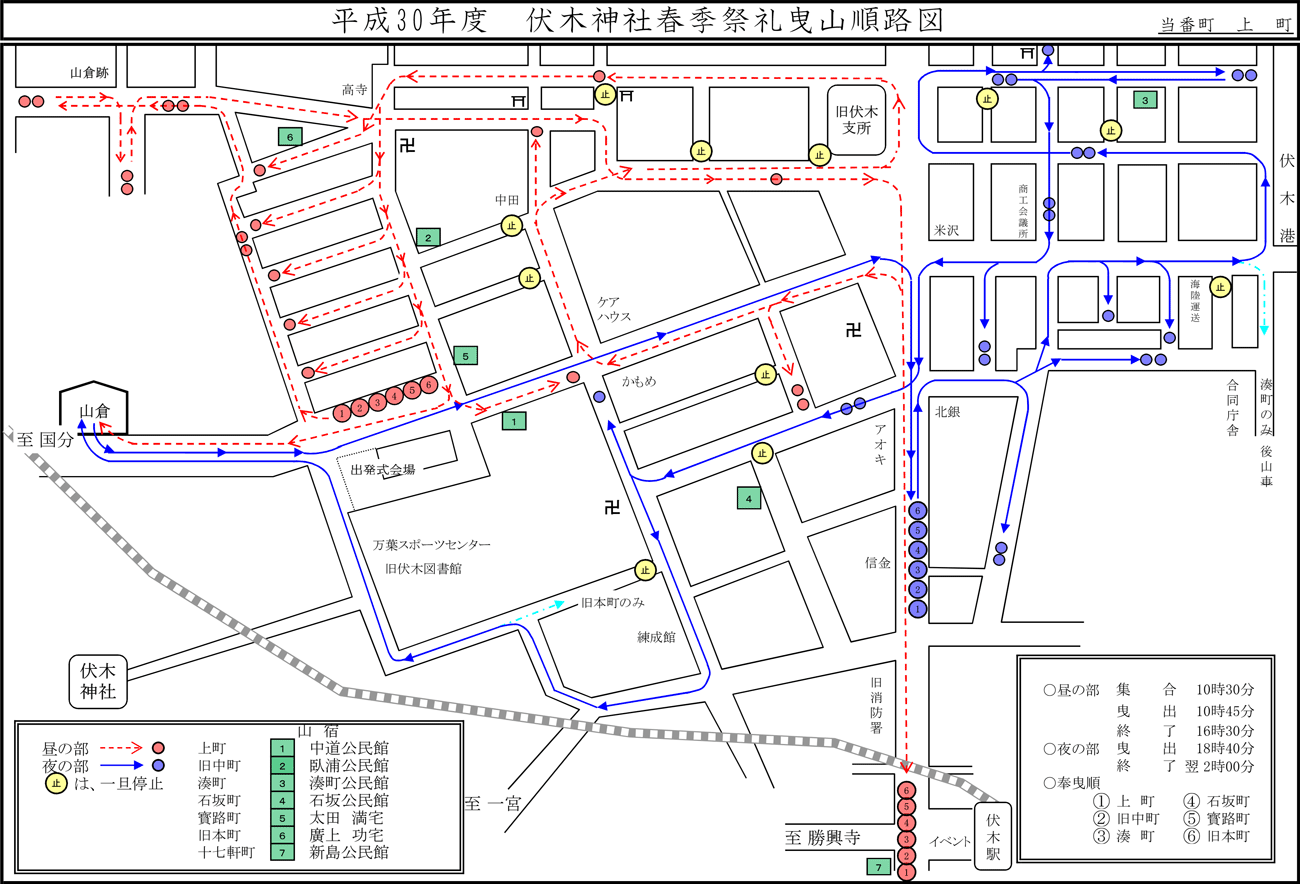 伏木神社例大祭・伏木けんか山2019本祭のルートマップ