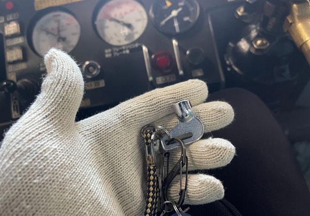 黒部峡谷鉄道トロッコ運転体験のトロッコの鍵