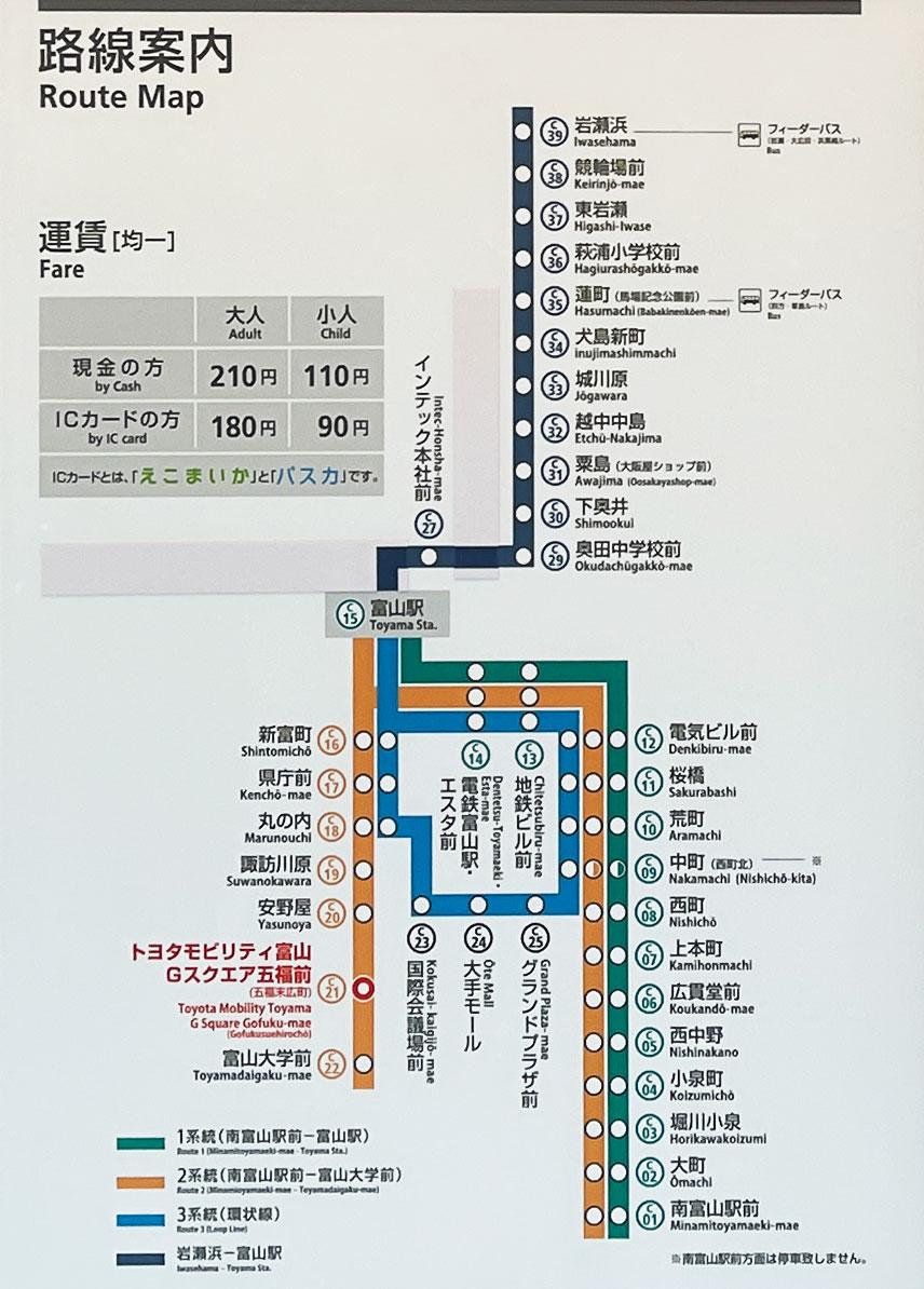 「トヨタモビリティ富山 Gスクエア富山本店」のある市電・路面電車の路線図