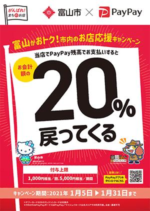 富山市×PayPay「富山がおトク!市内のお店応援キャンペーン」のポスター