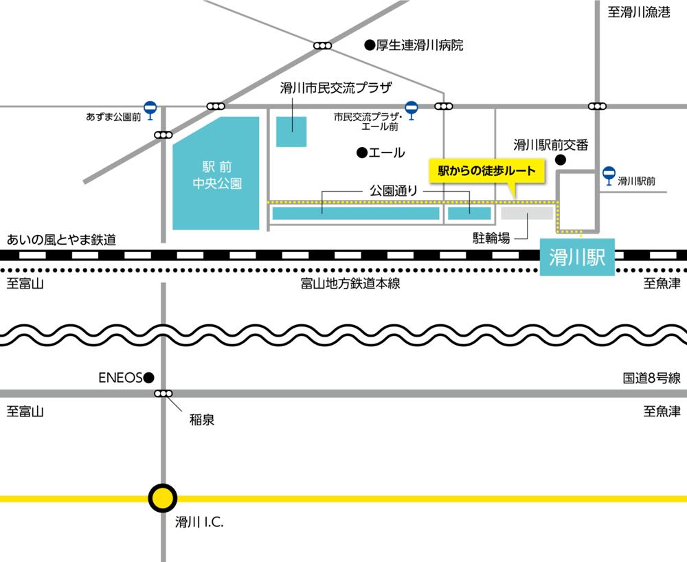 イルミネーション「キラリエ滑川」の会場アクセスマップ