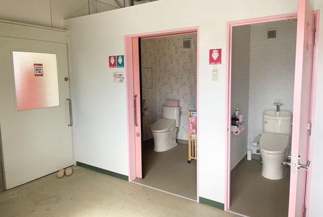 富山市のまちなかで苺狩りができる「徳徳ハウス」の多目的トイレ