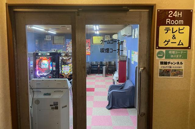 富山市山室にある宿泊もできる浴場施設「スパ・アルプス」のゲームコーナーの入口