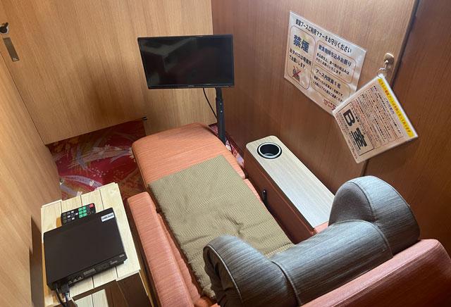 富山市山室にある宿泊もできる浴場施設「スパ・アルプス」の個室ブース
