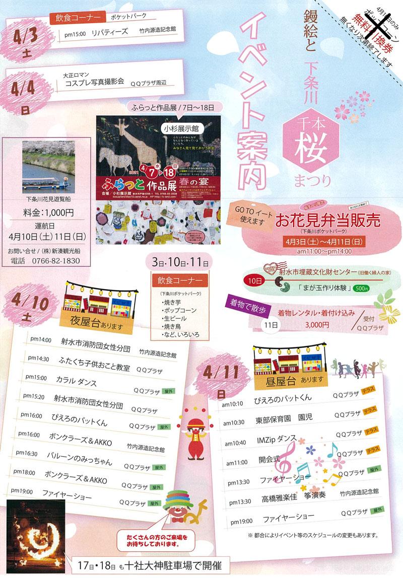 「鏝絵と下条川千本桜まつり2021」のイベント