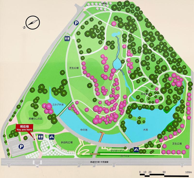 富山市の呉羽山公園・都市緑化植物園の施設案内地図
