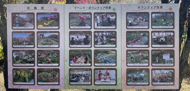 魚津市「花の森 天神山ガーデン」のボランティア活動などの案内看板