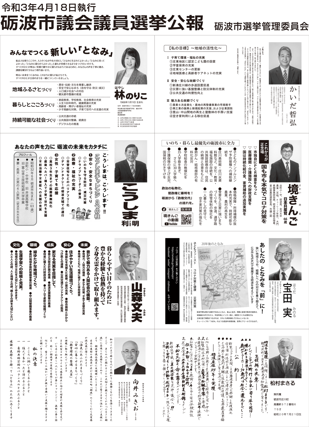 砺波市議会議員選挙2021の選挙公報2