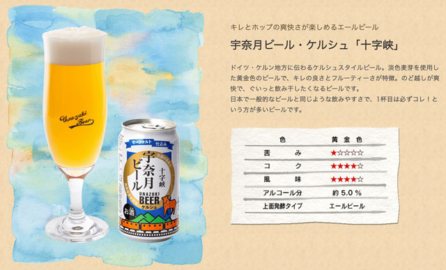 富山県黒部市の地ビール「宇奈月ビール」の十字架(ケルシュ)の特徴