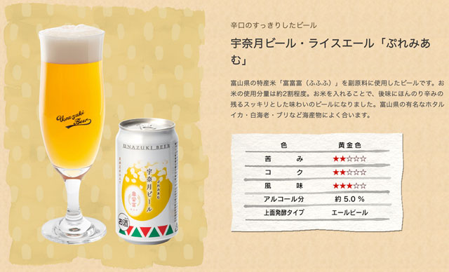 富山県黒部市の地ビール「宇奈月ビール」のぷれみあむ(富富富)の特徴