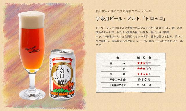 富山県黒部市の地ビール「宇奈月ビール」のトロッコ(アルト)の特徴