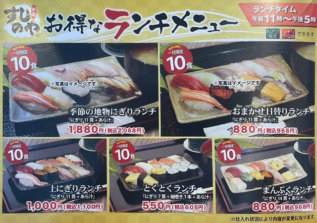 富山県氷見市の回転寿司「氷見すしのや」のお得なランチメニュー